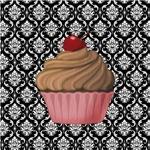 Pink Cupcake on Damask 2