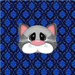 Gray Cat Blue Black Damask
