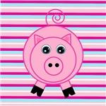 Pink Pig on Stripes