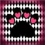 Pink Black Paw Print