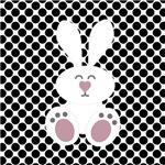 Easter Bunny on Black Polka Dots