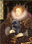 QUEEN ELIZABETH I<br>& Brindle Cairn Terrier