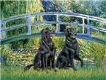 LILY POND BRIDGE<br>&Two Flat Coated Retrievers