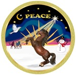 "Brown Arabian Horse in<br>""Christmas Sunrise"""