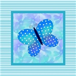 Blue Stripes and Butterfly