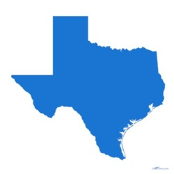 Special Bright Blue Texas Outline