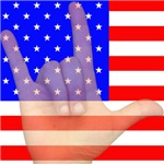 Flag and ASL ILY Hand