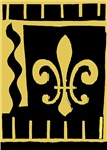 Black and Gold Fleur De Lis Abstract