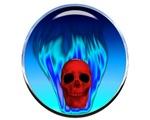 Steel Skull Blue Flames
