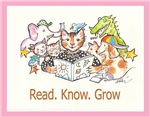 Library Cat says Read. Know. Grow.