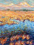 Marshland in Spring Oil Pastel Painting