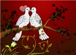 Love Birds in Red