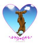 Skipping Dachshund in a heart