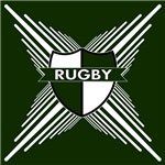 Rugby Shield Green White Stripes