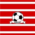 Soccer Ball Stripes red white