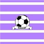 Soccer Ball Banner Lavender and White Stripe
