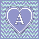 Green and Pale Violet Monogrammed Tote