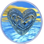 Blue 3D Psychedelic Heart