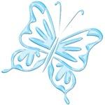 Blue Metallic Retro Butterfly