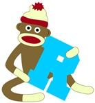 Sock Monkey Monogram Boy R