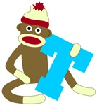 Sock Monkey Monogram Boy T