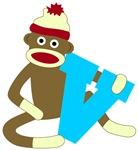 Sock Monkey Monogram Boy V