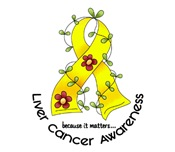Flower Ribbon LIVER CANCER T-Shirts & Apparel