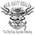 USN Navy Seal Skull Black and White