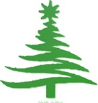 Stencil Christmas Tree Green