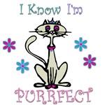 I know I'm purrfect cat shirts