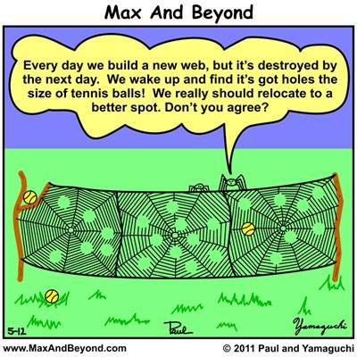 Cartoon: Tennis Court Spiders