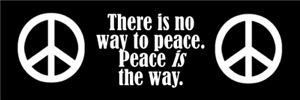 There is no way to peace.  Peace is the way.