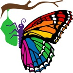 Rainbow Butterfly Emerging From Chrysalis T-shirts