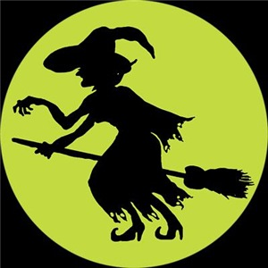 Retro Green Witch Silhouette