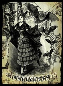 Victorian Halloween Bat Collage