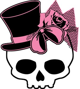 Cute Skull Top Hat And Pink Bow
