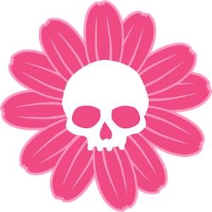 Pink Gothic Skull Flower
