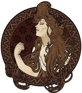 Art Nouveau Woman With Long Dark Hair