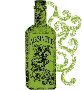 Absinthe Bottle With Swirls