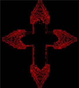 Ornate Red Gothic Cross