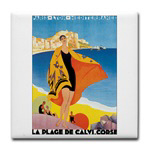 Plage de Calvi Retro Travel Poster