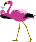 Pink Flamingo with Martini