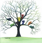 Whimsical Cats in Trees