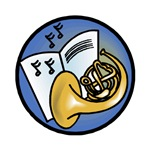 Tuba and Sheet Music Circle Design
