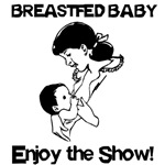 Breastfed baby enjoy the show