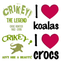 Steve Irwin,I Love Crocs & Koalas T-Shirts ,Appare