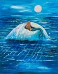 Mermaid floating under a fullmoon