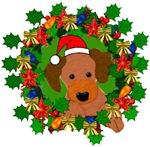 Dog In Christmas Wreath