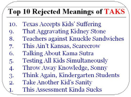 Top 10 Rejected Meanings of TAKS
