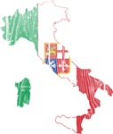 Italy Civil Ensign Flag And Map